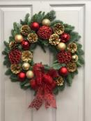 "A Red & Gold Handmade Christmas Wreath (14"")"